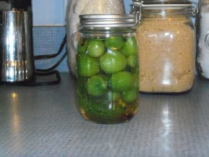 Pickled green tomatoes with garlic and dill.