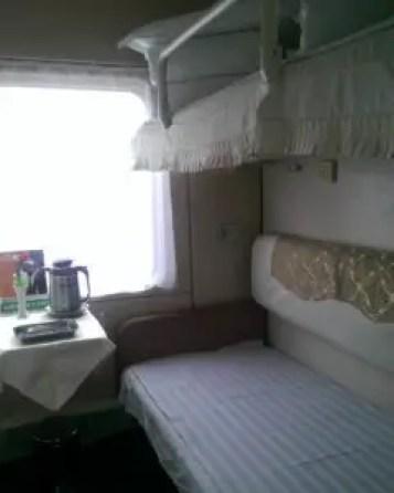 Inside a soft sleeper carriage