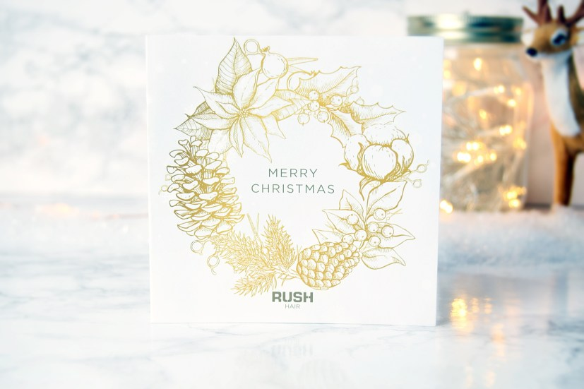Winter at Rush Hair Salon goodie bag Rush Christmas Card www.wingitwithjade