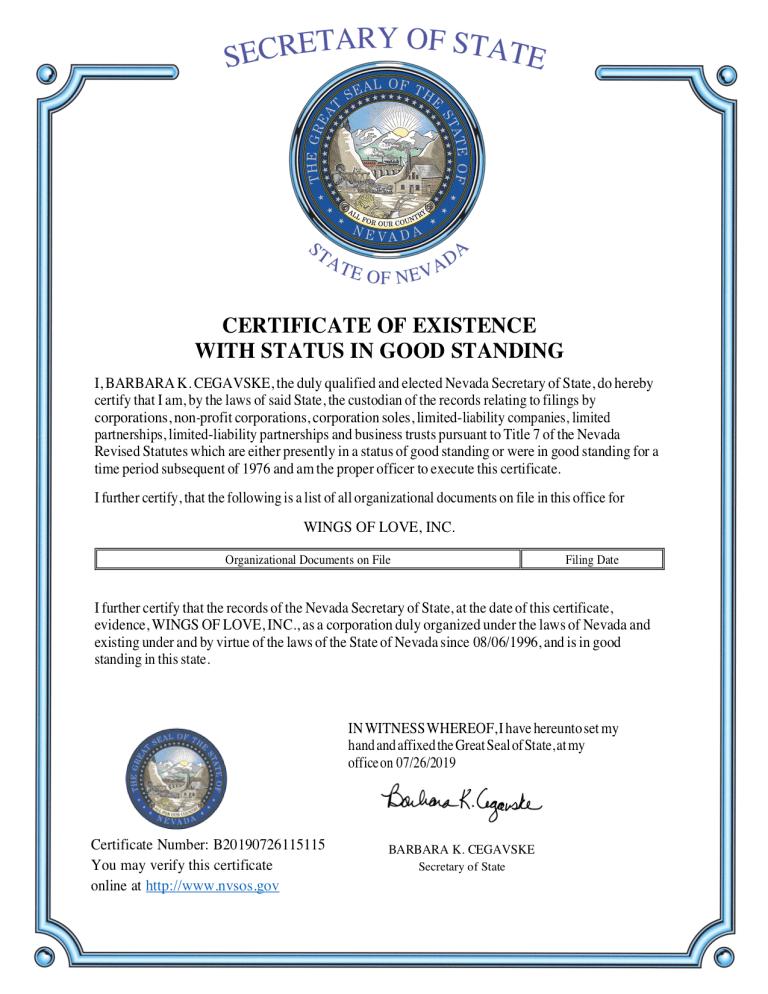 Wings of Love, Inc. Certificate of Good Standing 2019