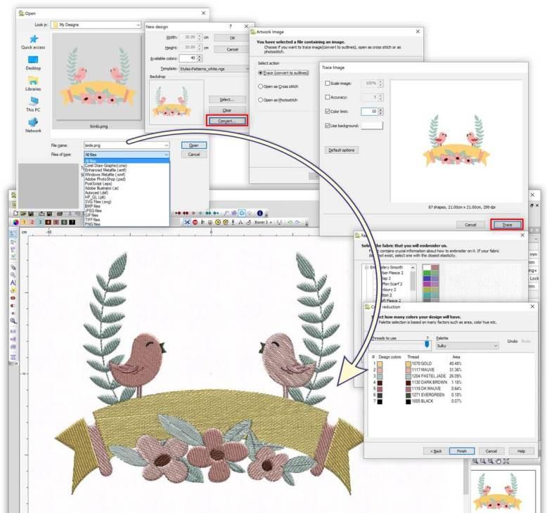 Convert Vector/Bitmap(.jpg, .png ...) artwork into editable embroidery designs