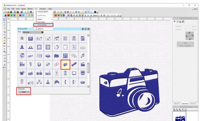 Convert symbols to embroidery