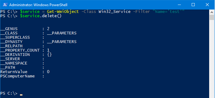 delete a service in windows - powershell