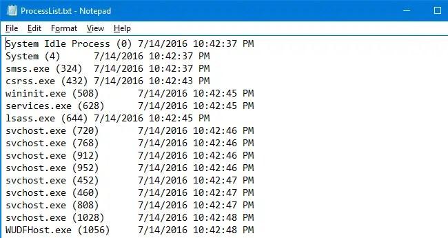 list running process