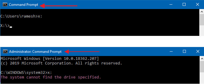 Mapped drives not seen from elevated Command Prompt and Task