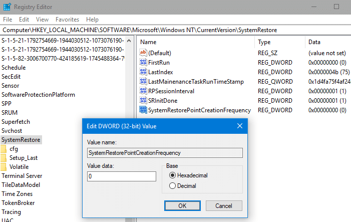 system restore point creation frequency 24 hours