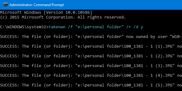 Take Ownership using command-line takeown.exe