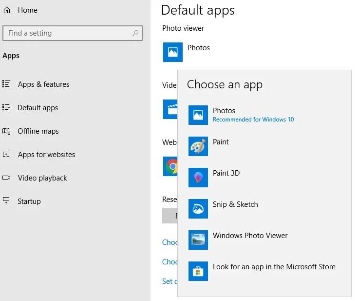 windows photo viewer default apps - settings