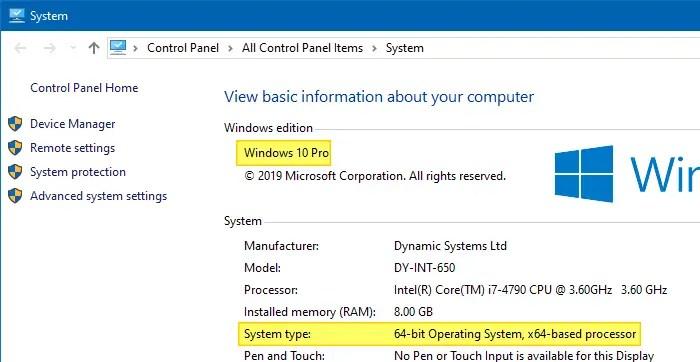 find windows 10 version build bitness system