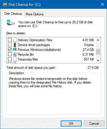 free up disk space fall creators update previous windows installations