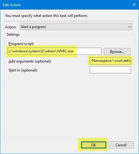 create daily restore point script or wmic