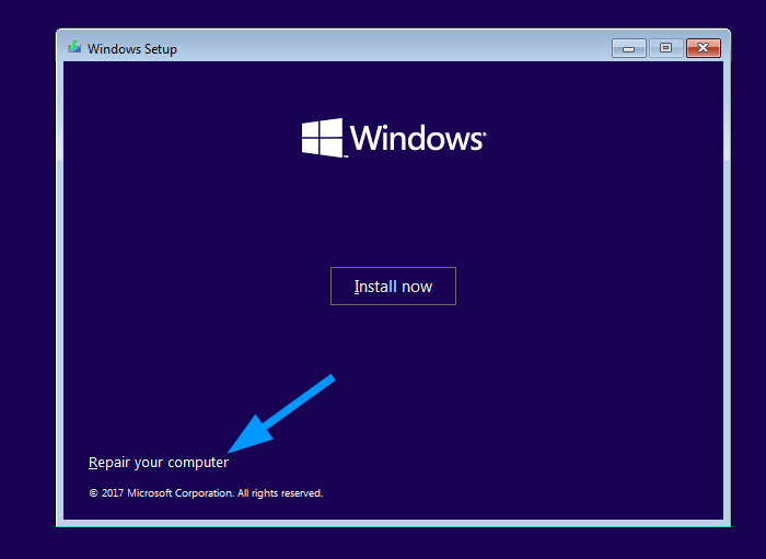 windows 10 setup - repair your computer