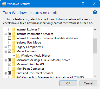 wmp missing windows 10