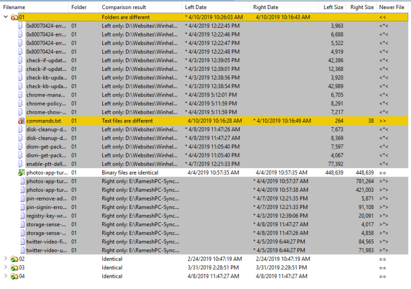 winmerge compare results expanded