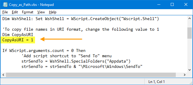 copy as path without quotes and in URI format