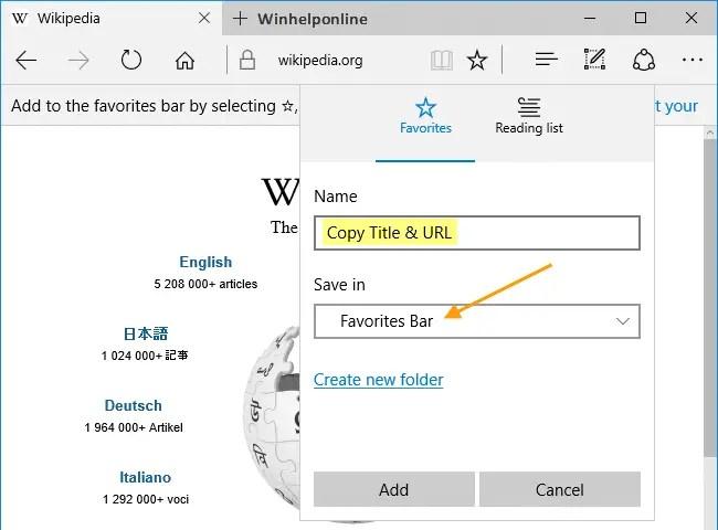 edge copy title and url bookmarklet