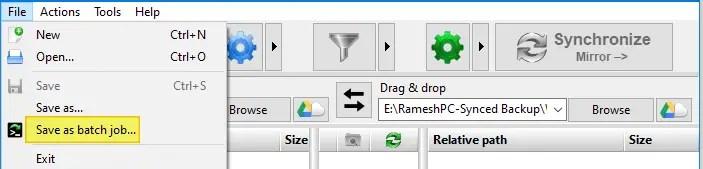compare the content of two folders - freefilesync