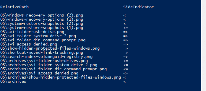 compare the contents of two folders
