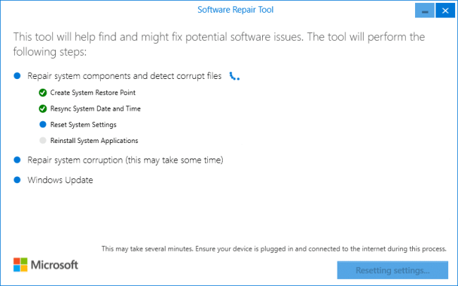 windows self healing or software repair tool