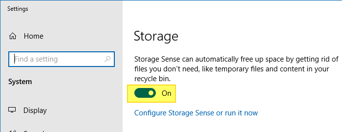 empty recycle bin - storage settings or storage sense