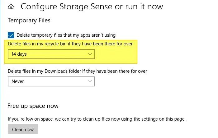empty recycle bin - storage settings or storage sense