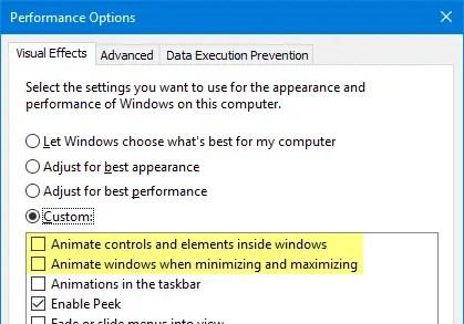 disable animation start menu windows 10