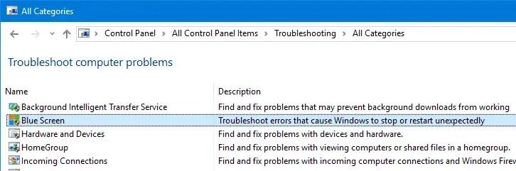 blue screen troubleshooter windows 10