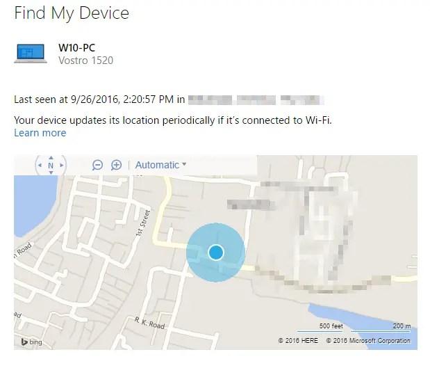 find my device location windows 10