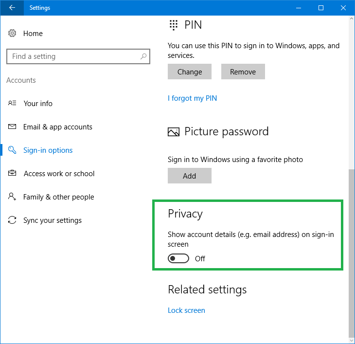 remove mail address login screen windows 10