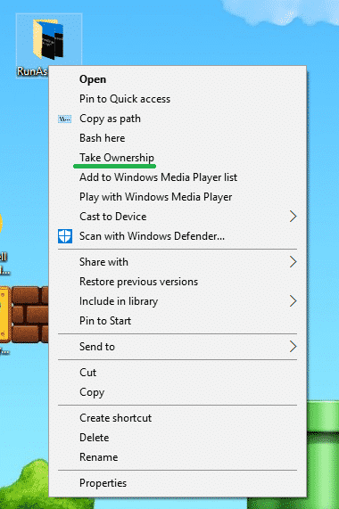 take ownership right-click menu