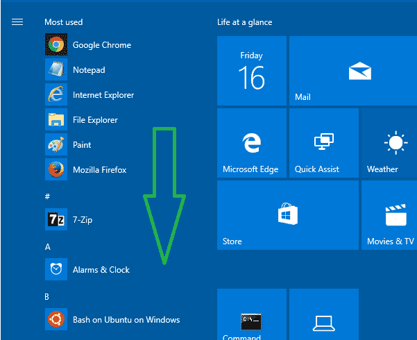Start menu all apps scroll inactive windows