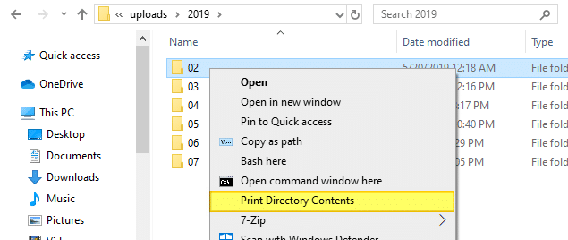 print directory contents in windows