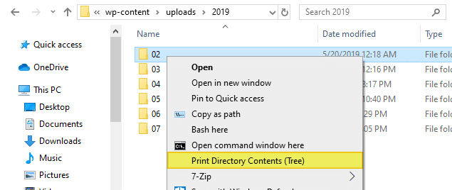 print directory contents in windows - tree command