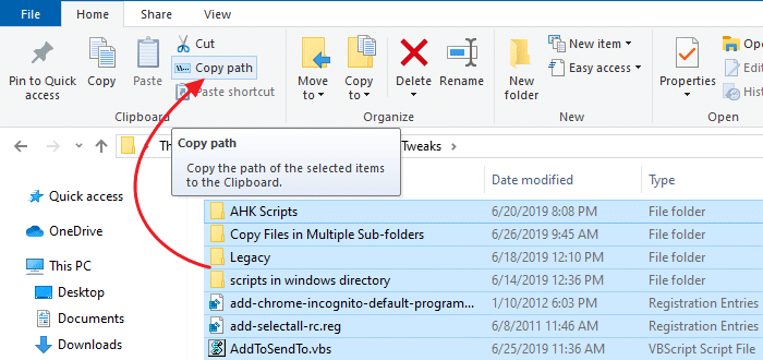 print directory contents in windows - copy as path