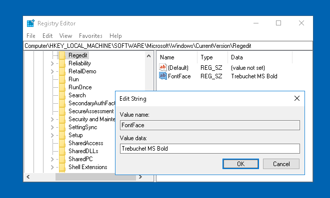 change registry editor font in windows 10