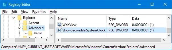 display seconds in taskbar clock