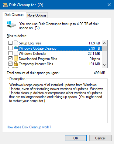 disk cleanup bug 3 99 tb used by windows updates [fixed