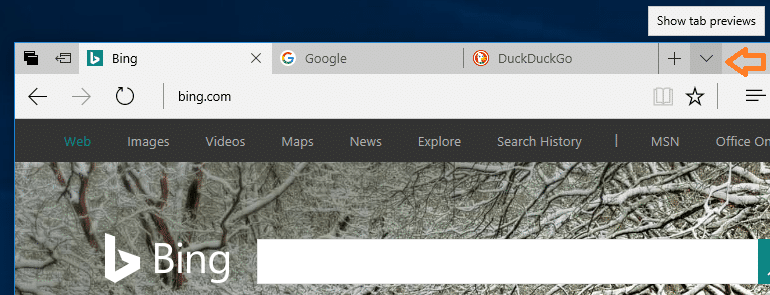 tab preview pane in edge