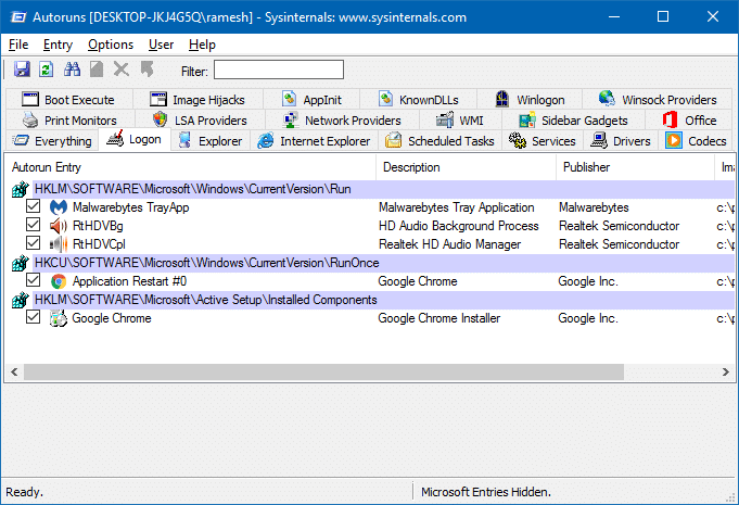 Remove invalid entries from Task Manager Startup tab