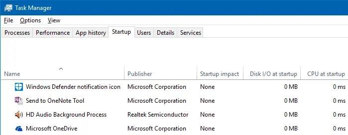 open taskmgr startup tab