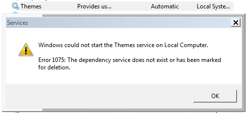 Fix] Themes Service Errors 1068 and 1075: