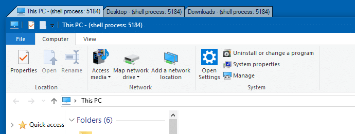 file explorer add tabs support