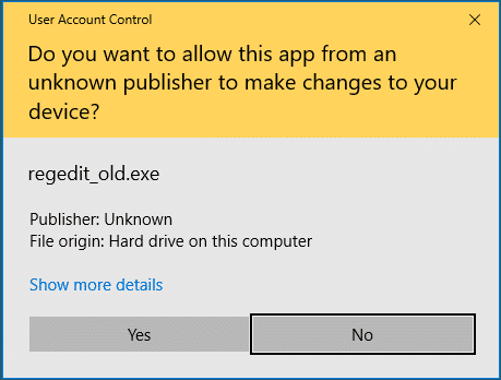 old regedit in windows 10 creators update
