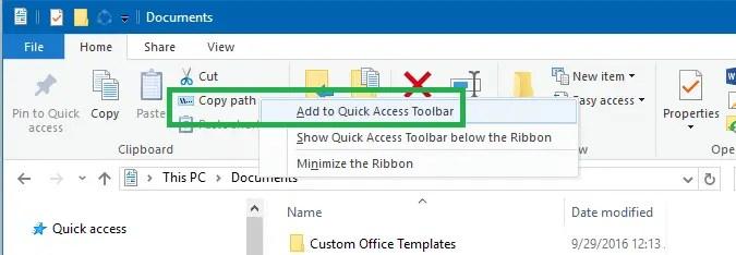 Customize File Explorer QAT