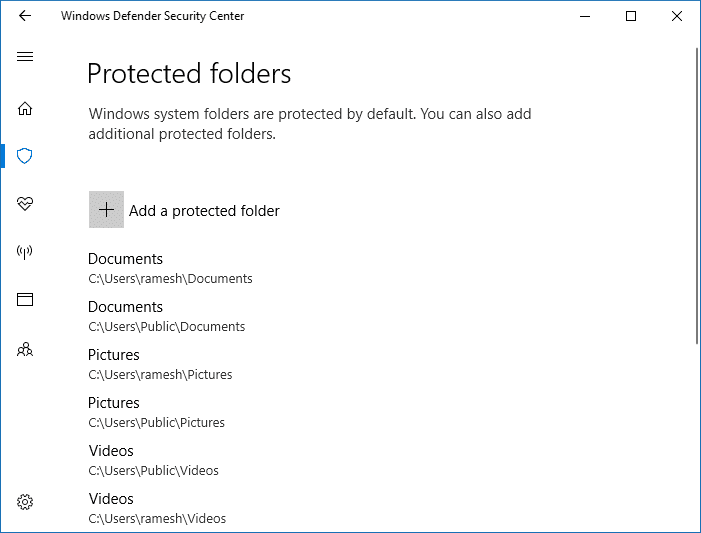 controlled folder access protected folders