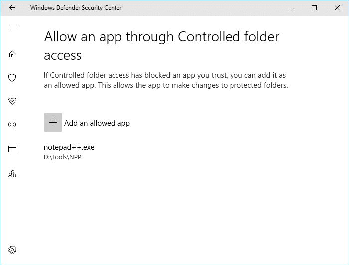 Configure Controlled Folder Access to Stop Unauthorized changes blocked Notifications -- Allowing an app
