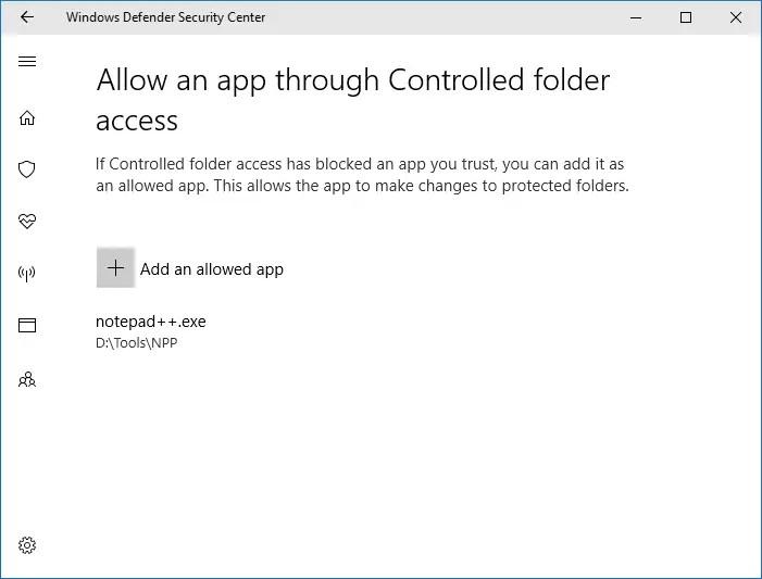 Controlled folder access -- Allowing an app