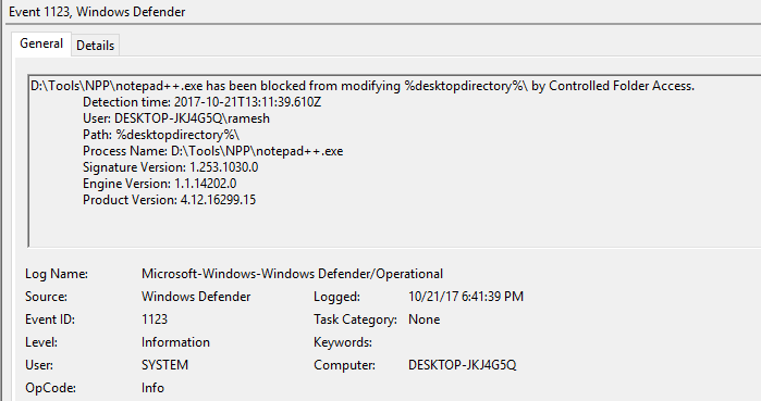 Windows DefenderControlled folder access event log