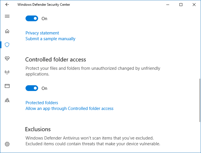 Enabling Controlled folder access - Windows Defender