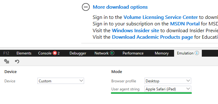 edge change user agent string
